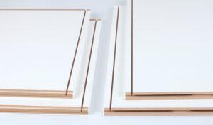 Komplet elementów bryły z zastosowaniem mechanicznego systemu zamykania THREESPINE™ w czterech narożnikach.